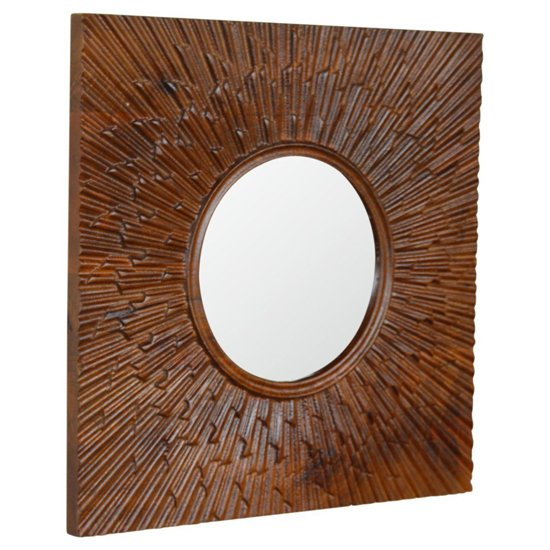 View Nero wall bedroom mirror in chestnut wooden frame