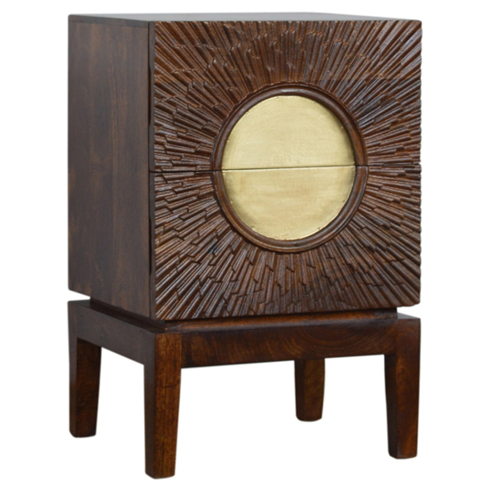 View Nero wooden bedside cabinet in chestnut and brass