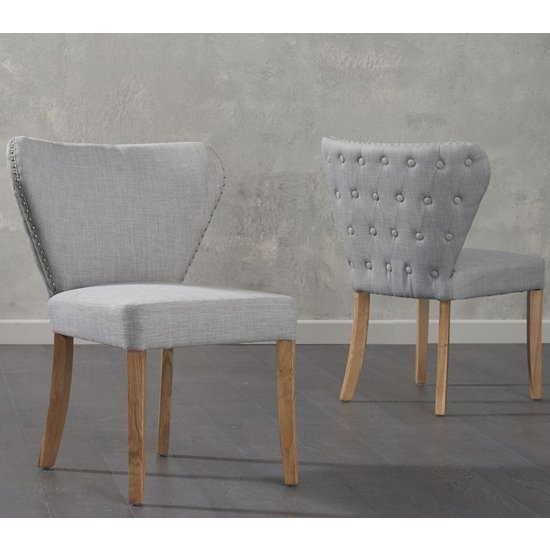 Nervia Grey Fabric Dining Chairs In Pair