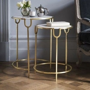 Nest of 3 tables for your living room in glass, gloss, wood & marble finishes
