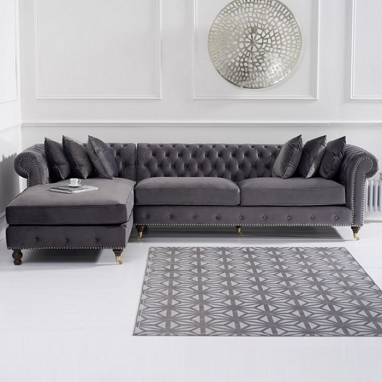 Nesta Chesterfield Left Corner Sofa In Grey Velvet