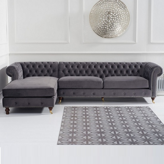 Nesta Chesterfield Left Corner Sofa In Grey Velvet_2