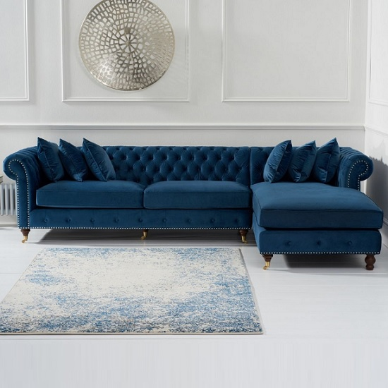 Awe Inspiring Nesta Chesterfield Right Corner Sofa In Blue Velvet Download Free Architecture Designs Photstoregrimeyleaguecom