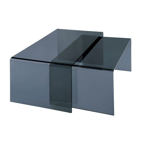 Quillon Nest of 2 Coffee Tables In Grey Bent Glass