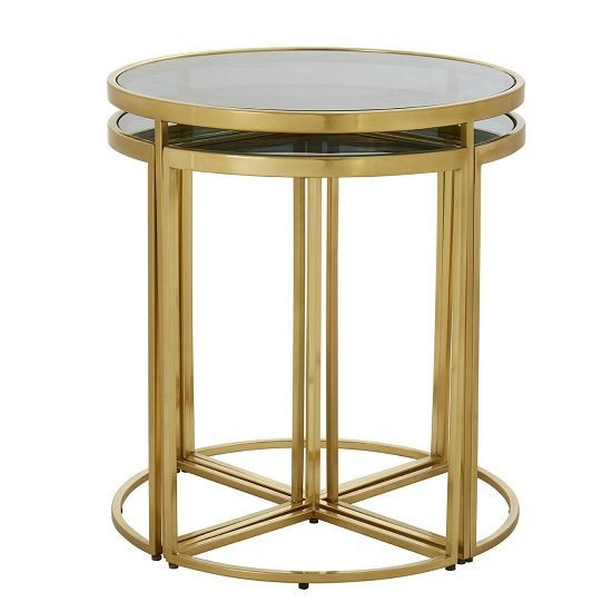 Netta Black Glass Set Of 5 Nesting Tables With Gold Finish Frame