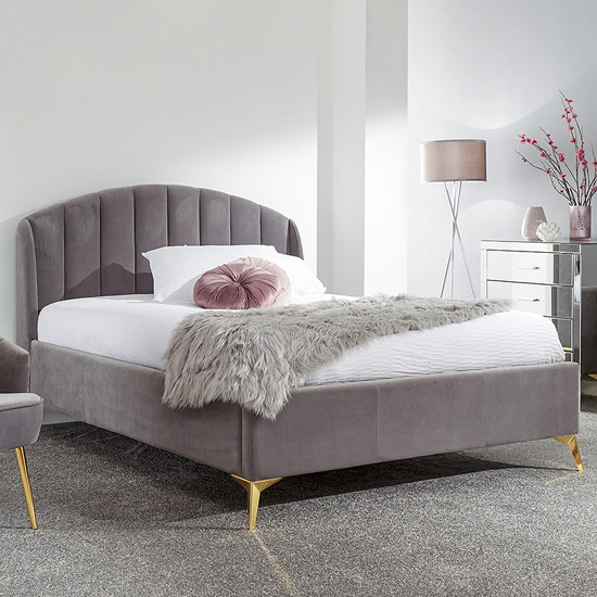 Nettiep Velvet End Lift Storage King Size Bed In Grey