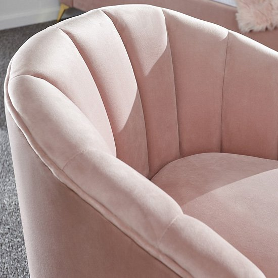 Nettiep Velvet Upholstered Armchair In Blush Pink_2