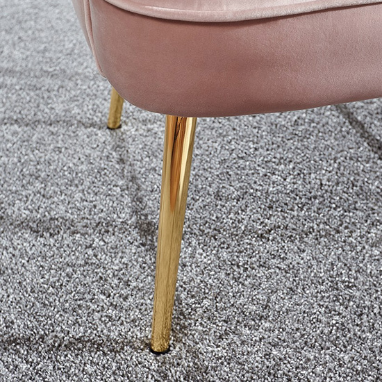 Nettiep Velvet Upholstered Armchair In Blush Pink_3