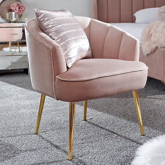 Nettiep Velvet Upholstered Armchair In Blush Pink_1