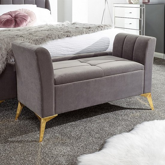 Nettiep Velvet Upholstered Ottoman Storage Bench In Grey