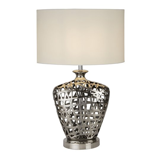Network Large Table Lamp With Chrome Cut Out Base