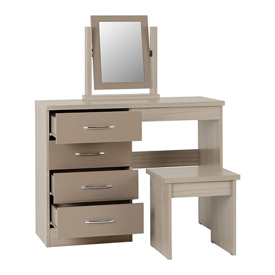 Nunky Dressing Table Set In Oyster High Gloss With 4 Drawers_2