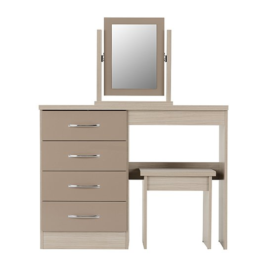 Nunky Dressing Table Set In Oyster High Gloss With 4 Drawers_3