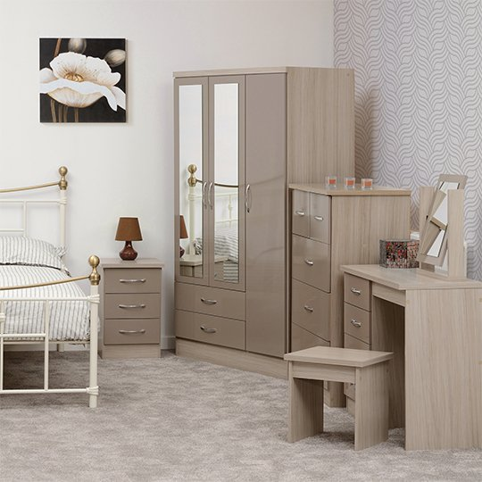 Nunky Dressing Table Set In Oyster High Gloss With 4 Drawers_4