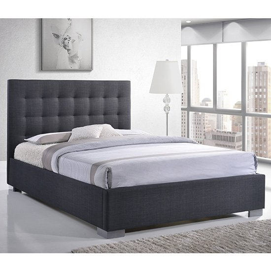 Nevada Fabric King Size Bed In Grey With Chrome Metal Legs