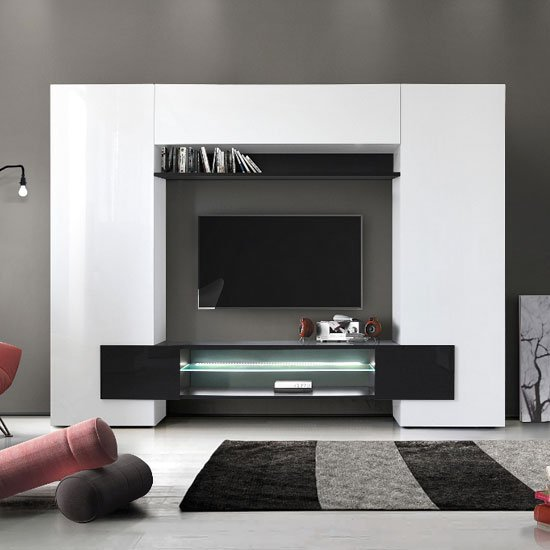 Nevaeh Wall Entertainment Unit In White And Black High Gloss