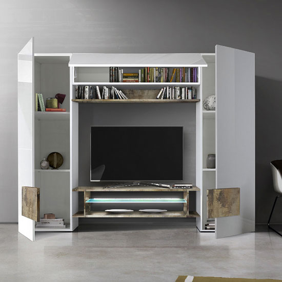 Nevaeh Wall Entertainment Unit In White High Gloss And Pero_2