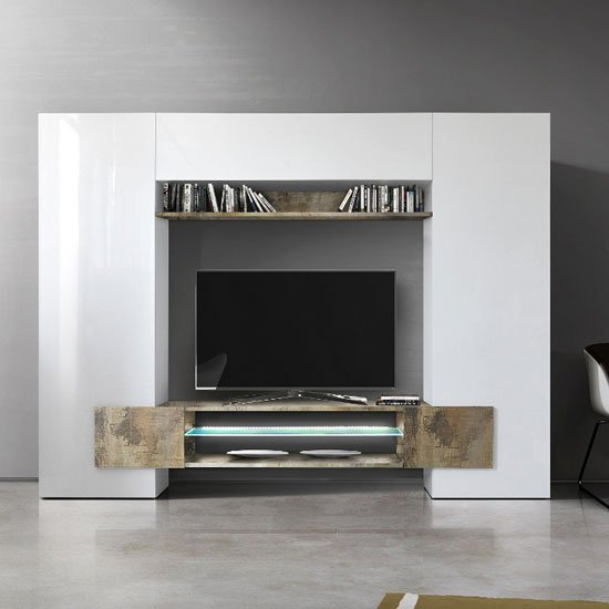 Nevaeh Wall Entertainment Unit In White High Gloss And Pero_1