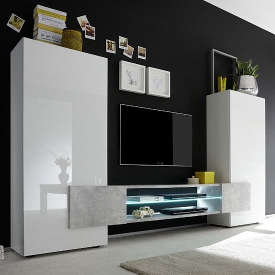 Nevaeh Wooden Large TV Stand In White Gloss And Cement Effect