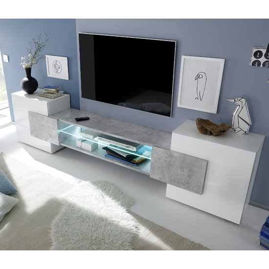 Nevaeh Wooden TV Stand In White High Gloss And Cement Effect_1