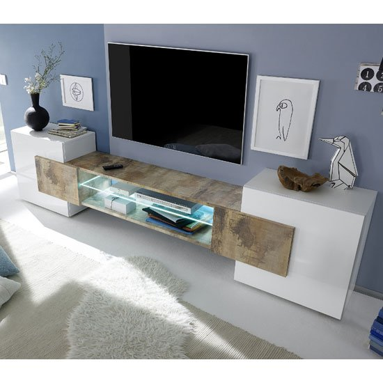 Nevaeh Wooden TV Stand In White High Gloss And Pero