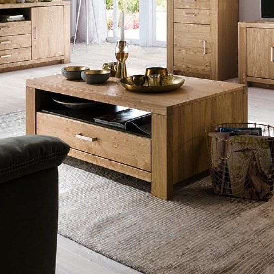 Nevara Wooden Coffee Table In Bianco Oak With 1 Drawer