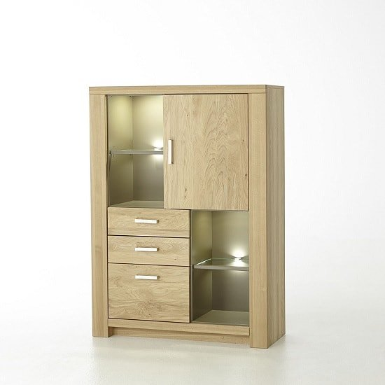 Nevara Wooden Highboard In Bianco Oak With LED Lighting