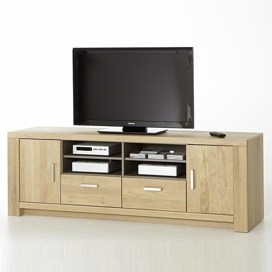 Nevara Wooden Large TV Stand In Bianco Oak With 2 Doors
