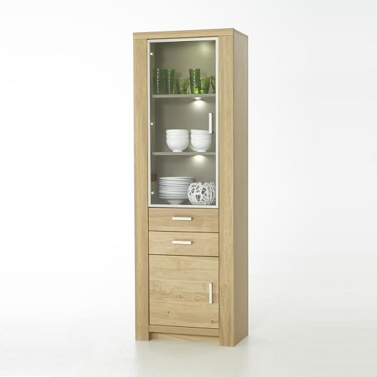 Nevara Wooden Left Display Cabinet In Bianco Oak With LED