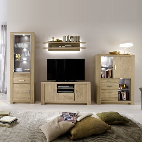 Nevara Wooden Living Room Set 1 In Bianco Oak With LED