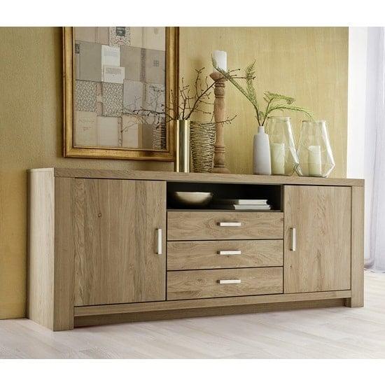 Nevara Wooden Sideboard In Bianco Oak With 2 Doors
