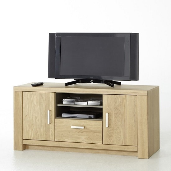 Nevara Wooden TV Stand In Bianco Oak With 2 Doors