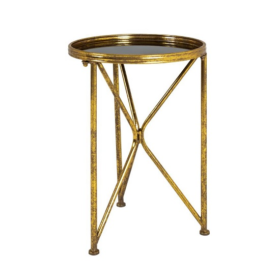 Neve Glass End Table Tall In Black With Antique Gold Frame