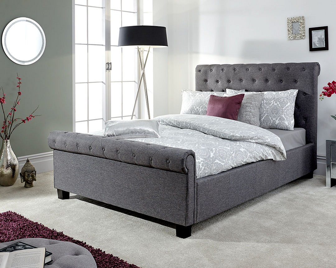 Neven Fabric Ottoman Storage King Size Bed In Grey