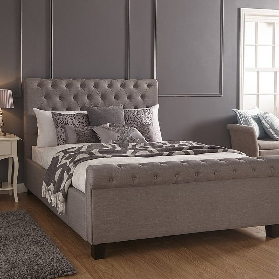 Neven Fabric Ottoman Storage Double Size Bed In Silver