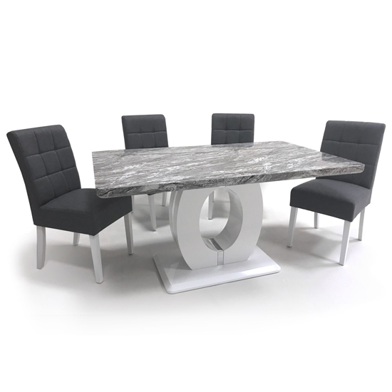 Neville Gloss Medium Dining Table With 4 Steel Grey Chairs