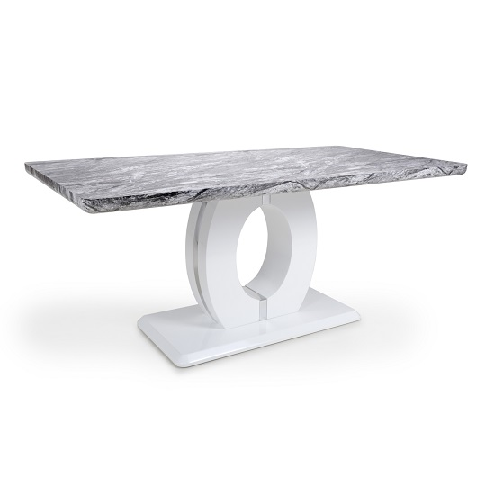 Neville Grey Marble Effect Large Dining Table With White Base