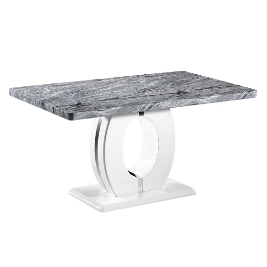Neville Marble Effect Gloss Medium Dining Table With White Base_1