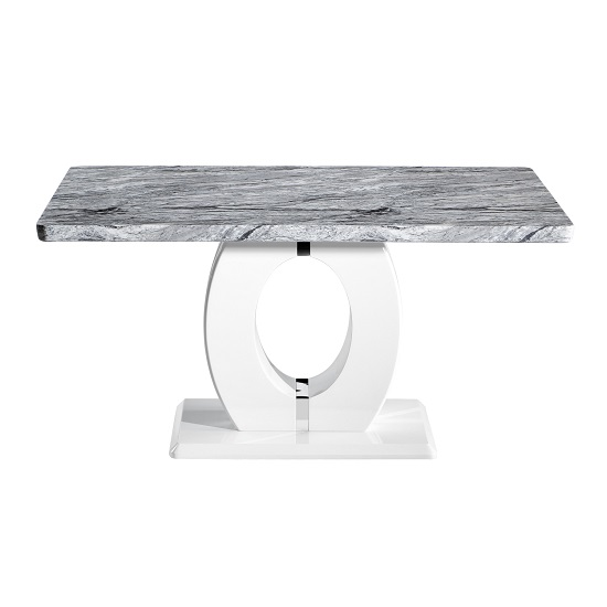 Neville Marble Effect Gloss Medium Dining Table With White Base_2