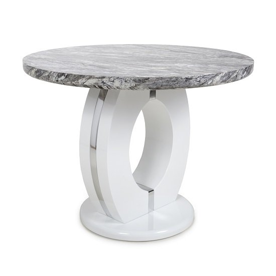 Neville Round Marble Effect Dining Table With 4 Black Chairs_2