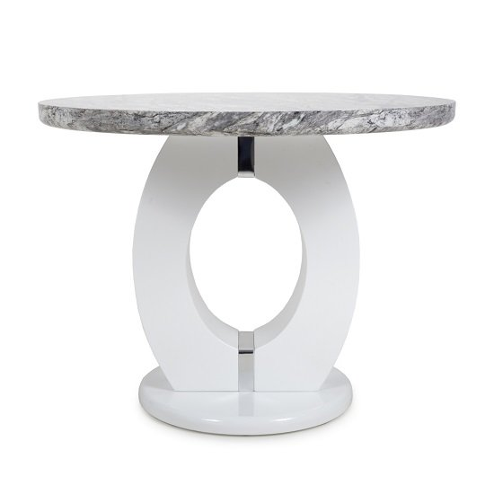Neville Marble Gloss Effect Round Dining Table With White Base_2