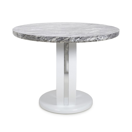 Neville Marble Gloss Effect Round Dining Table With White Base_3
