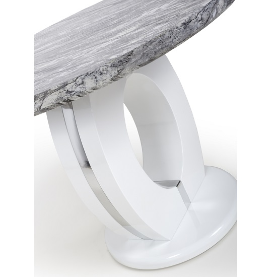 Neville Marble Gloss Effect Round Dining Table With White Base_4