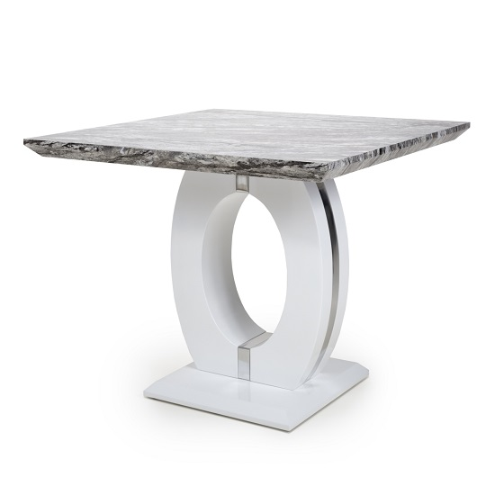 Neville Gloss Marble Effect Square Dining Table With White Base