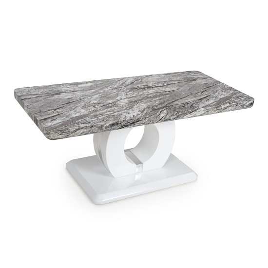 Neville Marble Gloss Effect Coffee Table With White Base_2