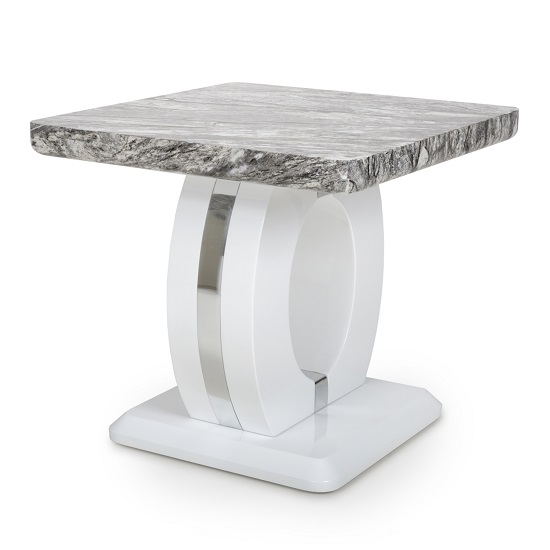 Neville Marble Gloss Effect Side Table With White Base_2