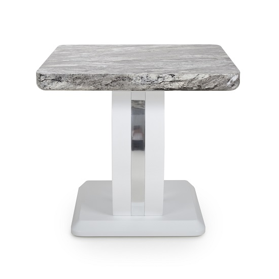 Neville Marble Gloss Effect Side Table With White Base_3