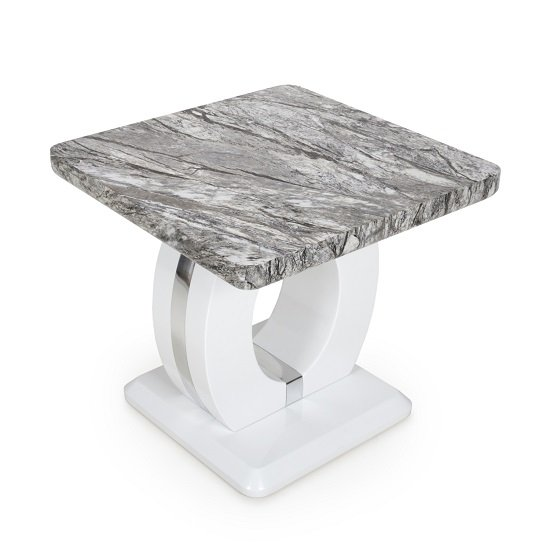 Neville Marble Gloss Effect Side Table With White Base_5