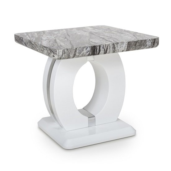 Neville Marble Gloss Effect Side Table With White Base_1