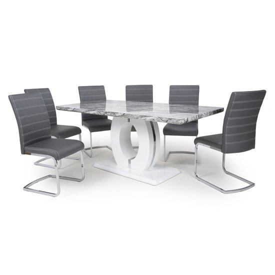Neville Large Gloss Dining Table With 6 Callisto Grey Chairs